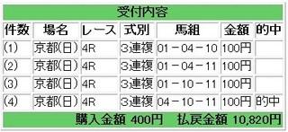 2010年10年31京都4R3連複10820円的中.jpg