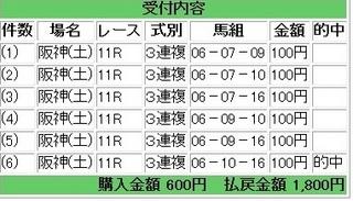 2013年6月15日阪神11R1800円3連複.jpg