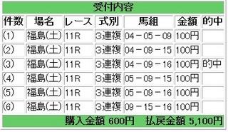 2013年6月29日福島11R5100円3連複.jpg