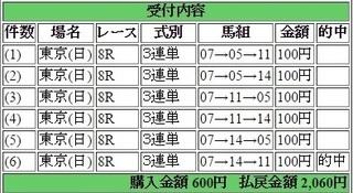 2016年6月5日東京8R2060円3連単 keiba.jpg