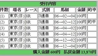 2017年1月29日東京8R13870円3連単6点 keiba.jpg